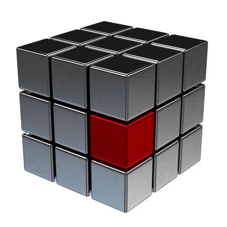cubo: Un cubo de color rojo entre los cubos negros
