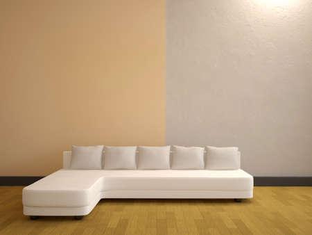 The minimalist interior with a white sofa photo