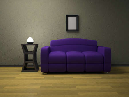Interior of a room with a sofa and the lamp photo