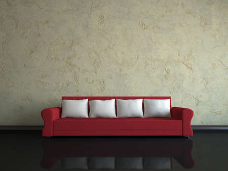 Interior of a room with a red sofa  photo