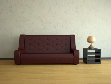 Interior of a room with a red  leather sofa  photo