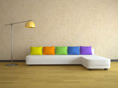 Interior of a room with a sofa and the lamp Stock Photo - 12580256