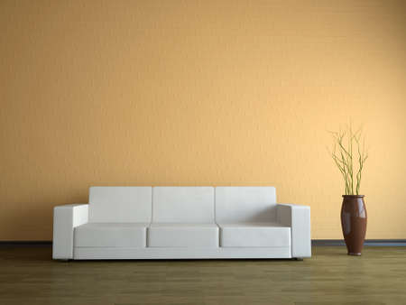 Interior of a room with a white sofa