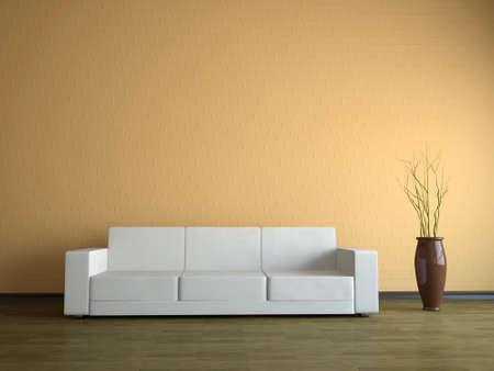 divano: Interno di una stanza con un divano bianco