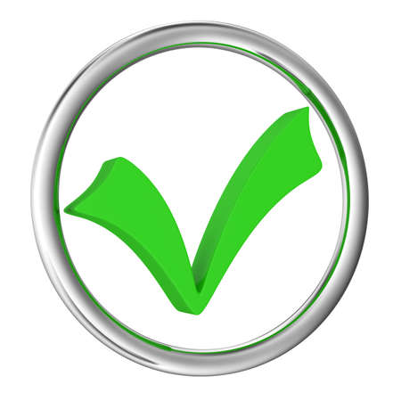 the concept is correct: Big green checkbox on a white background Stock Photo