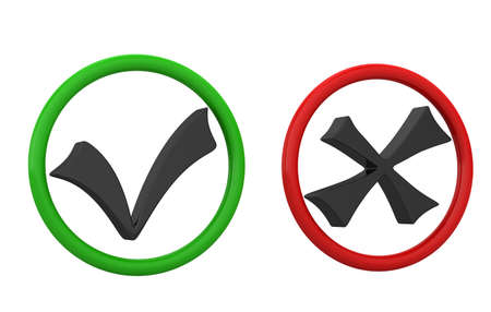 Green and red checkbox on a white background Stock Photo - 12580026