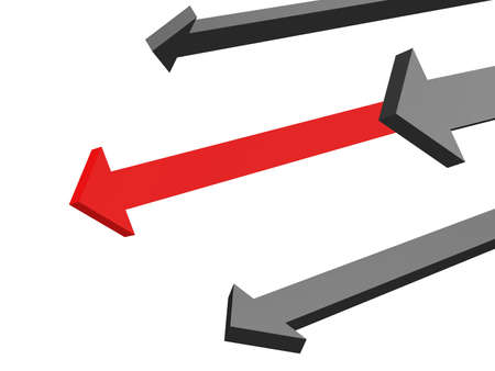 The red arrow above other grey arrows Stock Photo - 12580023