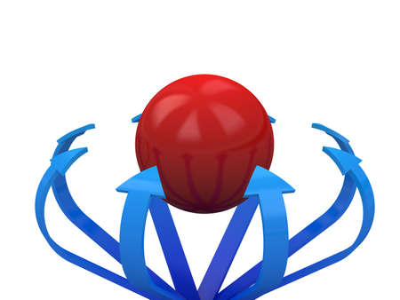 Blue arrows specify in a red sphere photo