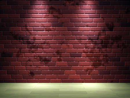 Interior of a room with a brick wall photo