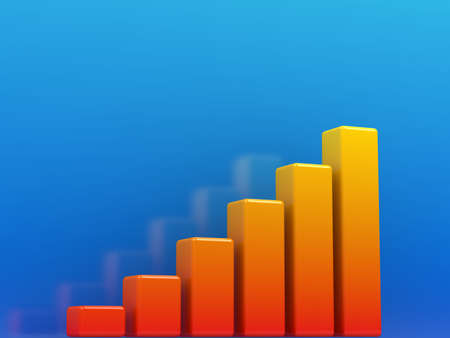 Bright orange graph on a blue background photo