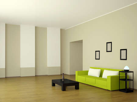 The interior of the room with the white couch photo