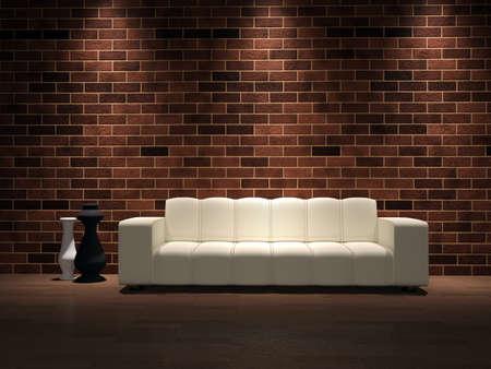 silencio: Un sof� blanco y jarrones cerca de una pared de ladrillo