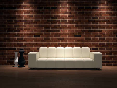 livingroom: White sofa and vases near a brick wall Stock Photo
