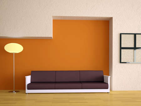 Sofa and lamp near a orange wall photo