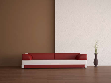 Leather sofa and vase near a wall photo