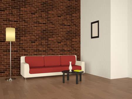 Sofa and lamp near a bricks wall photo
