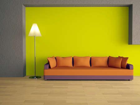 clr: Sofa with orange pillows near a green wall