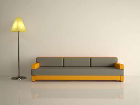 home furnishing: Leather sofa and lamp on a white floor Stock Photo