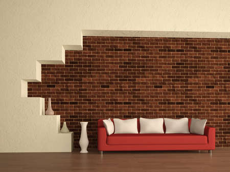 The red sofa near a brick wall photo