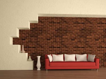 Minimalism: The red sofa near a brick wall Stock Photo