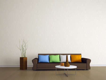 home furnishing: The brown sofa with four colored pillows Stock Photo