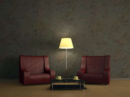 Room interior with two red leather chairs Stock Photo - 12910983