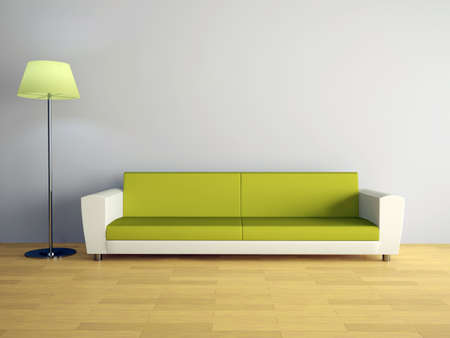 Room interior with a sofa and a lamp Stock Photo - 12910962