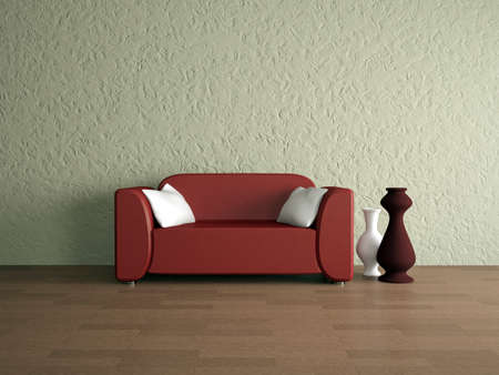 Red leather sofa and vases near a wall photo