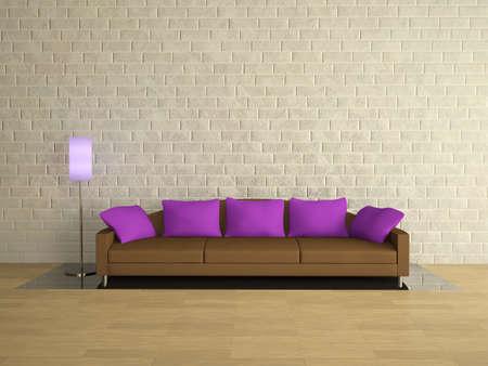 Brown sofa with lilac pillows near a brick wall photo