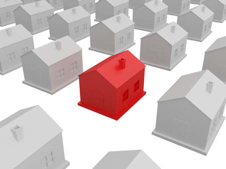 standing out from the crowd: Little red house among the gray houses   Stock Photo