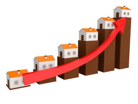 Shows a rise in prices for real estate photo