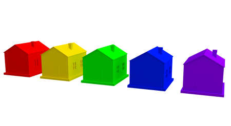 home logo: The colored houses on a white background