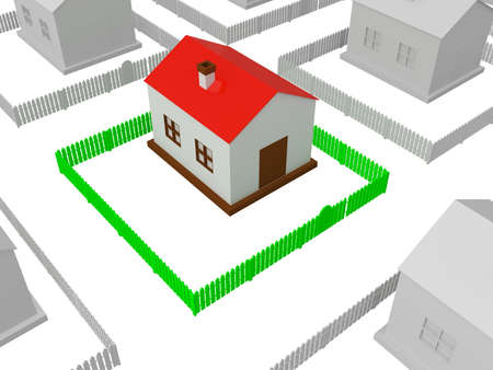 Little house with red roof and the green fence photo