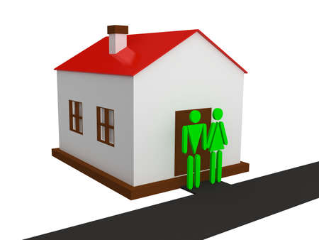 Man and woman standing near the house Stock Photo - 12910941