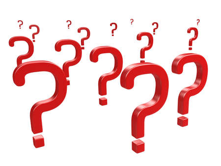 Red question marks on a white background Stock Photo - 13148574