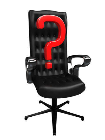 Red question mark on a black chair photo