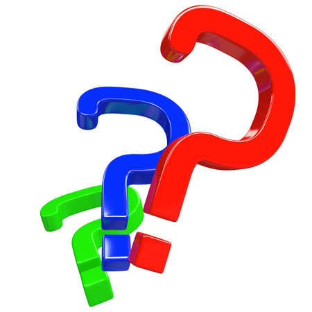 Color question marks on a white background Stock Photo - 13148572