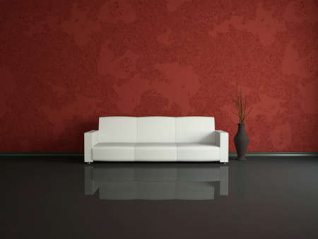 zen interior: White sofa and vase near a red wall