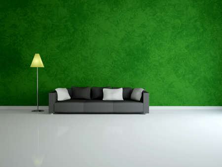 White sofa and lamp near a green wall photo