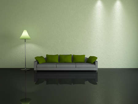 Grey sofa with green pillows near a wall photo