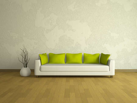 living apartment: White sofa with green pillows near a wall