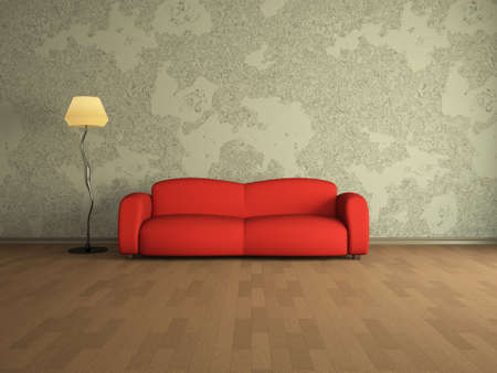 red sofa: Room interior with a red sofa