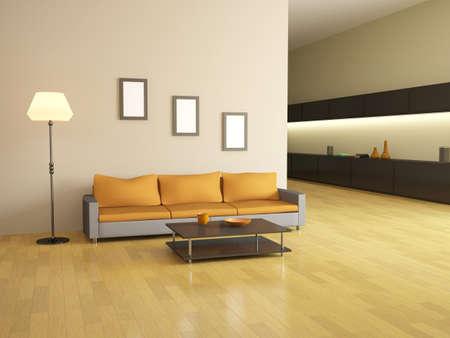 El interior con sofá, mesa y lámpara