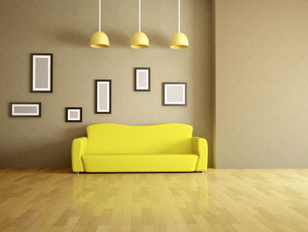 sparse: Room interior with a yellow sofa Stock Photo