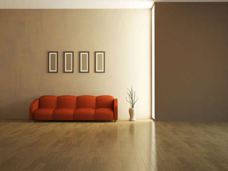 red sofa: The interior of a large room with red sofa