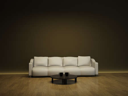Interior with a white sofa and a brown table