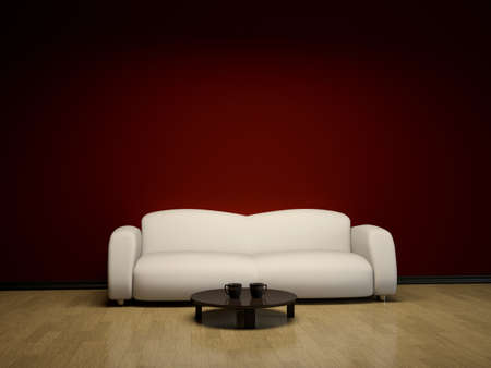 Interior with a white sofa and a brown table Stock Photo - 13148672