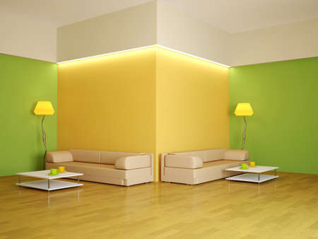 green living: The interior of a large room with two sofas