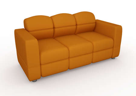 The orange sofa on a white background photo