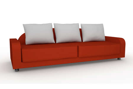 sofa furniture: The red sofa on a white background